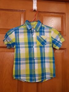 Boy's Blue and Yellow Plaid Shirt Size: 4
