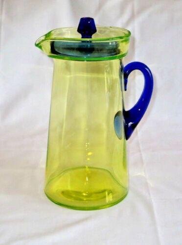 "Vaseline Glass Martini Pitcher 10"" Hand Blown w/ Cobalt Blue Handle & Lid RARE"