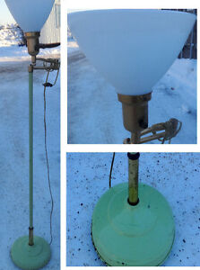 RARE 60S Retro FLOOR LAMP Green Original Paint GLASS SHADE 51""