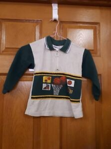 Boy's Green and Grey Basketball Shirt Size: 4