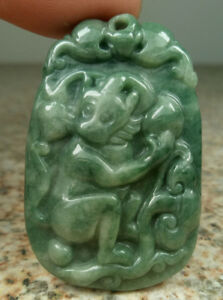 Deep Green Natural A Jade jadeite Carved Monkey Pendant