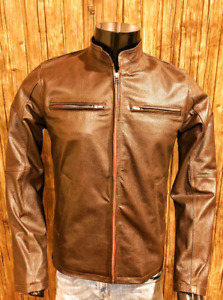 New Mens Vintage Biker Brown Cafe Racer Handmade Leather Jacket