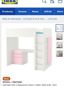 IKEA STUVA BUNK BED WITH DESK, OPEN SHELVES AND WARDROBE