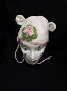 White and Pink Knit hat