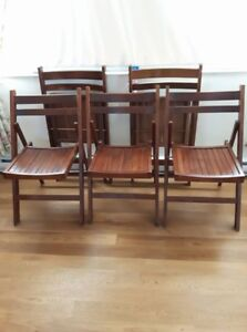 5 Wooden Fold Up Chairs good for patio or deck etc