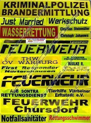 Reflex Rückenschild gelb, reflektierend, 42 x 8 cm, Wunschtext, zweizeilig