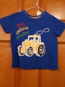 Boys Blue Big Yellow Tractor George Shirt Size: 3