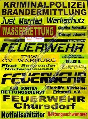 Reflex Rückenschild gelb, reflektierend, 42 x 8 cm, Wunschtext, einzeilig