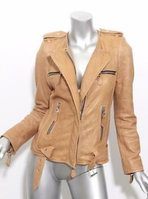 ISABEL MARANT Womens SADE Tan LAMBSKIN LEATHER Moto Biker Jacket 4-36 NWOT $2650