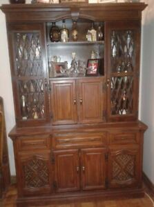 Wooden display and storage cabinet