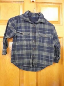 Boy's Blue and Grey Plaid Shirt Size: 4
