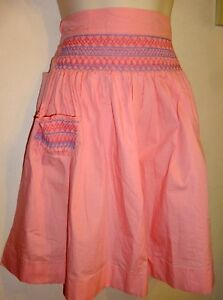 Hand-made Pink Apron with SMOCKED Waist & Pocket Super-Cute