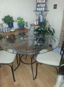 Glass Wrought Iron Dining Table Kijiji Free Classifieds