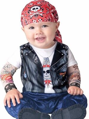 Baby Biker Costume Born To Be Wild MC Motorcycle Tattoos Funny Toddler Infant