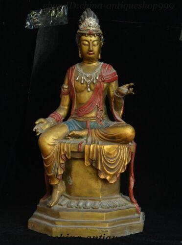 """24"""" Old Chinese Bronze Free Goddess Guan Yin Avalokitesvara Boddhisattva Statue"""