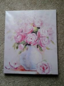 New Large Pink Flowers in a Vase Canvas Art