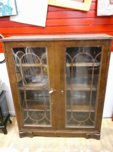 Antique Wooden Glass Door Bookcase