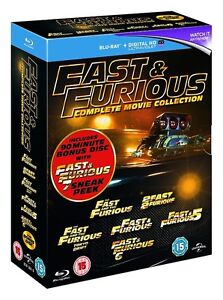 BLU-RAY! FAST AND THE FURIOUS 6 MOVIE BOX SET