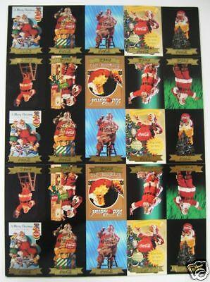 Coca Cola Santa Series 3 Gold Foil Uncut Sheet - 25 Cards (2.5 Sets) - 1994 NEW