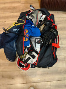 Three CHEAP sets of HOCKEY gear; bag sincluded!