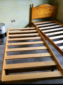 Pine single bed frame with underneath trundle bed. Mattress available