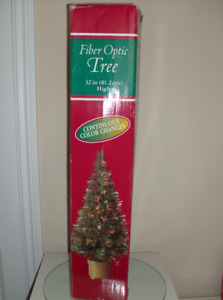 2 Fiber Optic Christmas Trees + Collector'sChristmas Ziggy Plate
