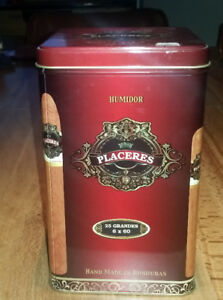 Humidor Cigar Tin Box with moisture box PLACERES for 25 cigars