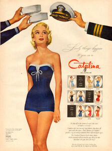 Large 1955 magazine ad for Catalina Swimwear