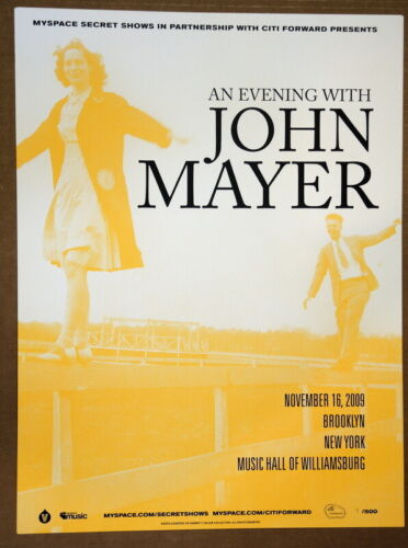 JOHN MAYER -2009 - YELLOW - DEAD AND COMPANY - WILLIAMSBURG -MYSPACE TOUR POSTER
