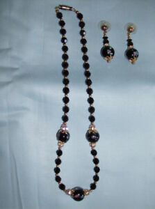 2 Pc.Swarovski Crystals & Beaded Necklace and Earrings Set