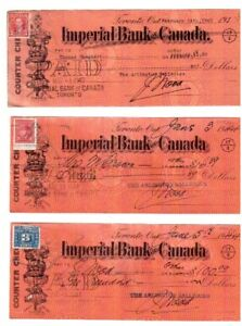7 anciens chèques : IMPERIAL BANK OF CANADA .1939/1940