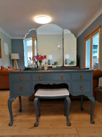 Pratts of Bradford refurbished Vintage Dressing table stool & mirror