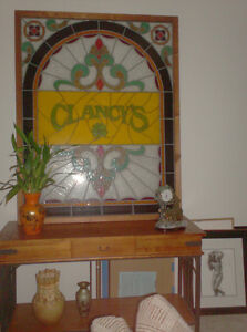 "Large (60""x40"") Antique Stained Glass Window - Clancy's"