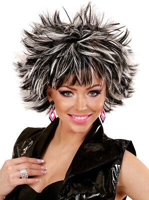 Nancy 80er Jahre Perücke schwarz-weiß NEU - Karneval Fasching Perücke Haare