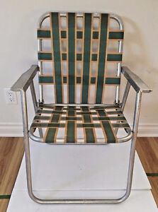 Vintage Lawn Deck Camping Web Aluminum Folding Chair