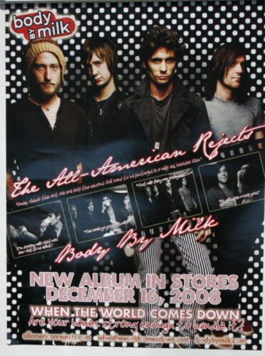 """THE ALL AMERICAN REJECTS """"Body By Milk"""" WHEN THE WORLD COMES DOWN POSTER 24x18"""