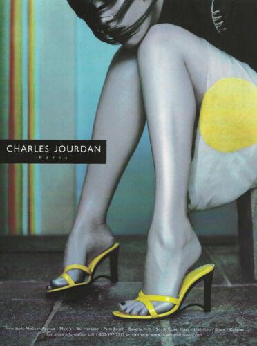 CHARLES JOURDAN Shoes 1-Pg Print Ad 1999 long legs ankles feet in yellow heels