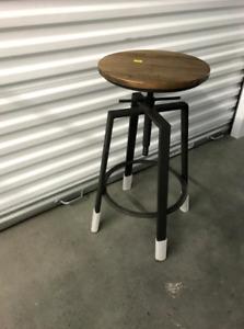 Adjustable Solid Wood and Gun Metal Bar Stool