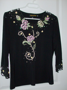 NEW Designer Ladies Blouse Size Small + NEW Black Evening Purse
