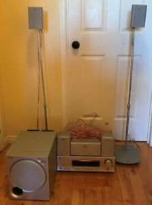 5.1 JVC Receiver with Sony speaker system, stands, speaker wire