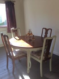 Pretty country hare rustic dinning table four chairs