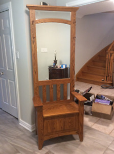 Mirrored Hall Stand with Storage Bench
