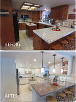 Spray painting & refinishing kitchen cabinets