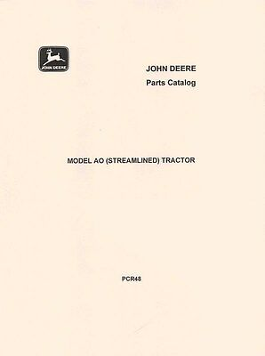John Deere Model Ao Streamlined Tractor Parts Manual Catalog Jd Pcr-48