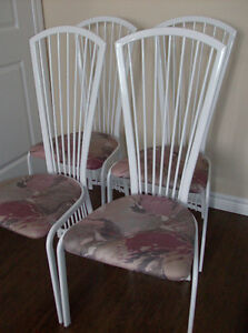 4 White Chairs - Fan Back Design -Solid Chairs
