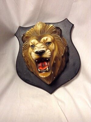 Vintage Roaring Lion Head Hanging Wall Mount Bust Wooden Plaque