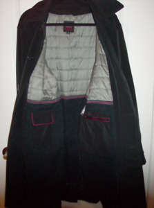 NEW Men's Coat with Zip Out Lining - Size 40 Black Dress Coat