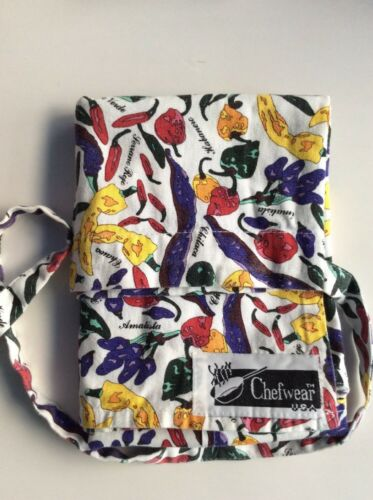 White Cotton Half Apron with Pocket decorated with 'Chillies' by Chefwear, USA