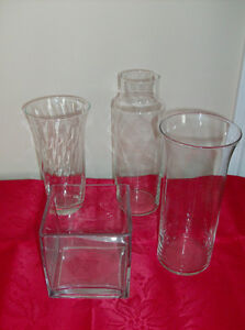 4 Glass Flower Vases Like New - Immacualte