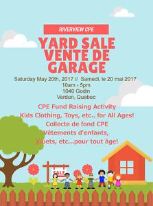 CPE Riverview Fundrasier yard sale